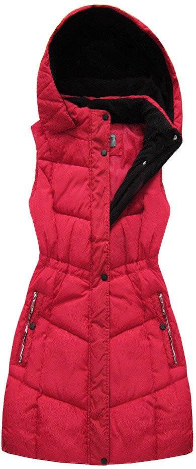 Červená dámská vesta s kapucí (B3582-30) - Červená/S (36)