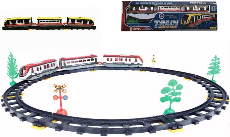 Sada vlaková set vagony osobní s tratí na baterie 27ks v krabici Světlo
