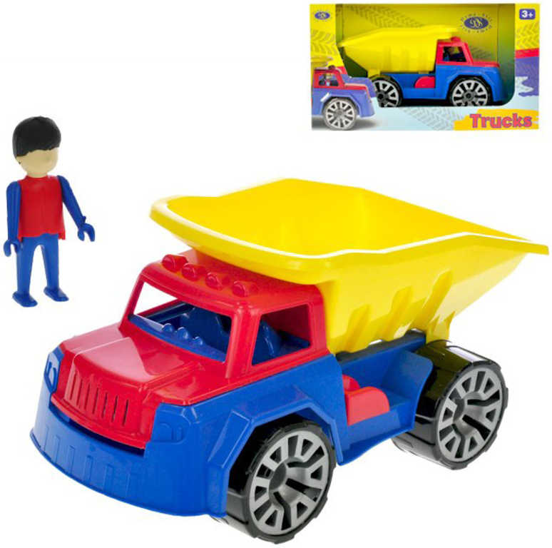 Auto barevné pracovní 29cm sklápěčka set s panáčkem v krabici plast