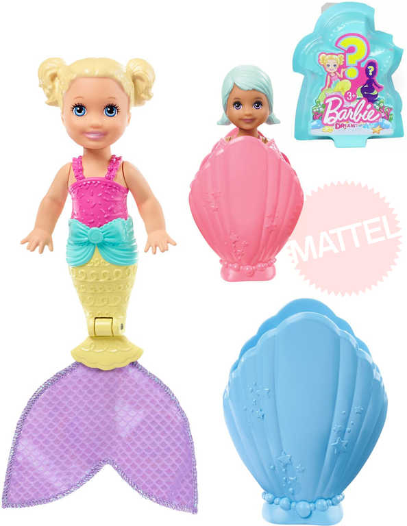 MATTEL BRB Panenka Barbie víla mořská v mušli s překvapením různé druhy
