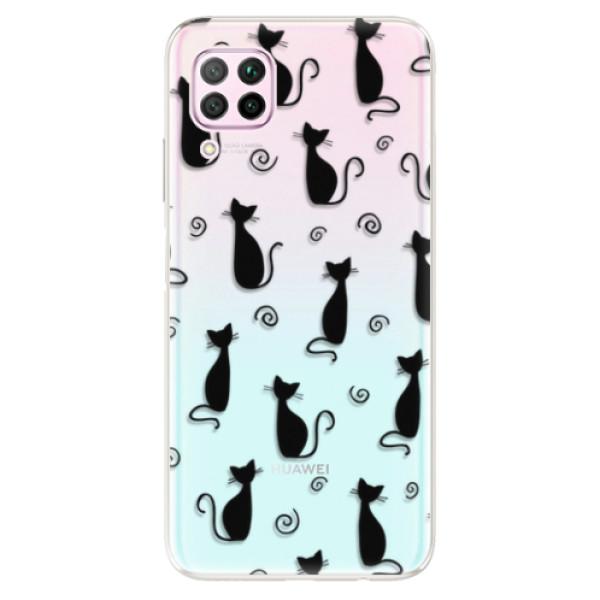 Odolné silikonové pouzdro iSaprio - Cat pattern 05 - black - Huawei P40 Lite