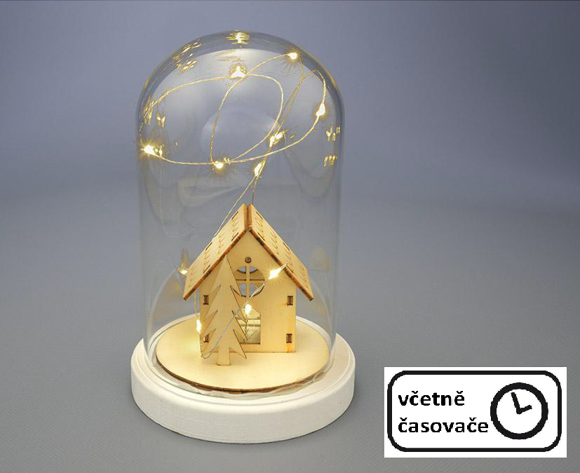 Vánoční svítící dekorace kopule - domek, 10 LED, teple bílá