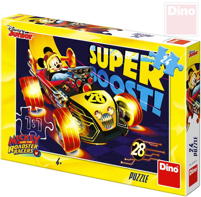 DINO Puzzle 24 dílků Mickey Mouse na závodě 26x18cm skládačka v krabici