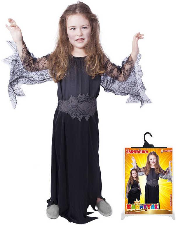 KARNEVAL Šaty čarodějnice černá pavučina vel.S (110-116 cm) 4-6 let