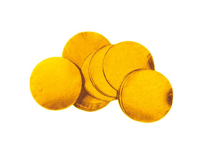 Tcm Fx pomalu padající kulaté konfety 55x55mm, zlaté, 1kg