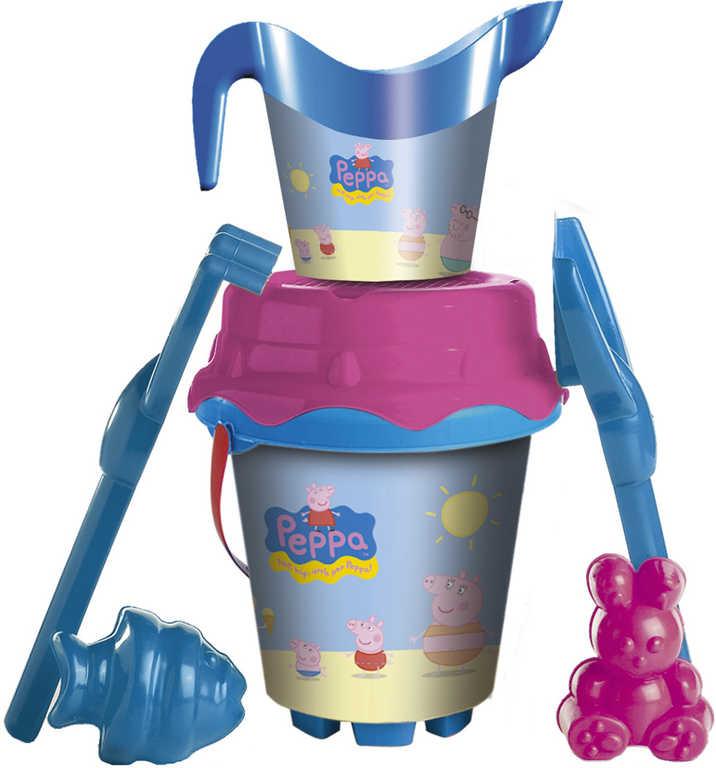 UNICE Set na písek Peppa Pig kyblík s konvičkou a nástroji 6ks plast