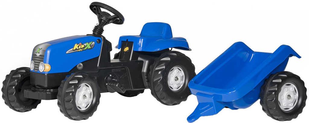 ROLLY TOYS Traktor dětský šlapací Rolly Kids modrý set s vlečkou 130x42x39cm