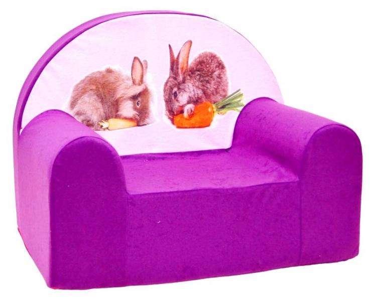 Dětské křesílko/pohovečka Nellys ® - Králičci fialoví