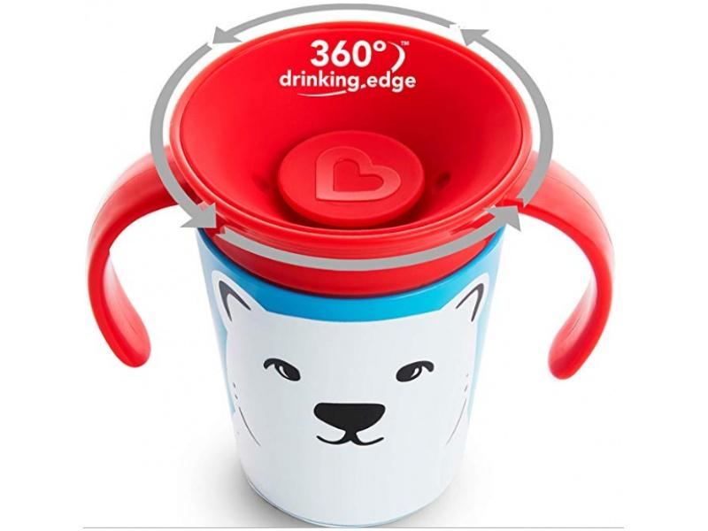Munchkin - Juniorský hrneček WildLove 360° s oušky 177 ml - polární medvěd