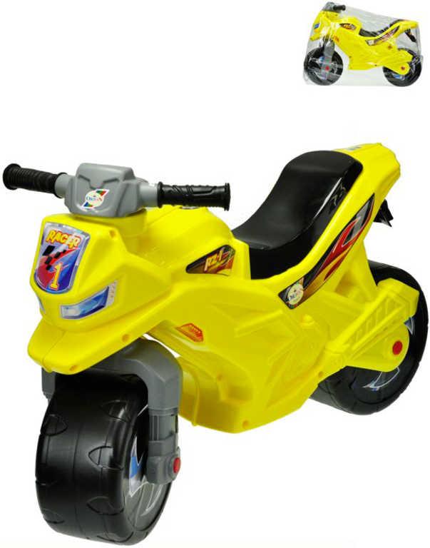 Motorka dětské plastové odrážedlo 68x48x29cm odstrkovadlo žluté v sáčku
