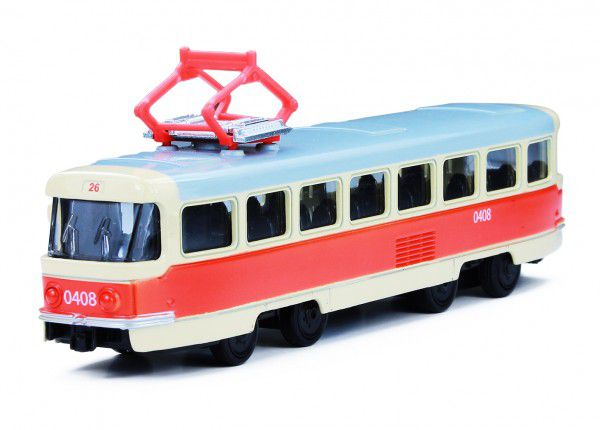 Tramvaj Tatra T3 česká kovová 16cm retro na zpětný chod v krabičce 20x8x6cm CZ design