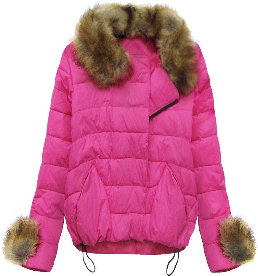 Růžová prošívaná bunda s kožíškem (1993)