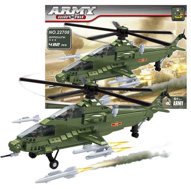 AUSINI Stavebnice ARMY vojenská helikoptéra sada 482 dílků + 2 figurky plast