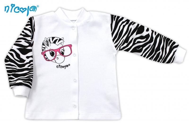 Bavlněná košilka NICOL ZEBRA - bílá/černobílý rukáv - 62 (2-3m)