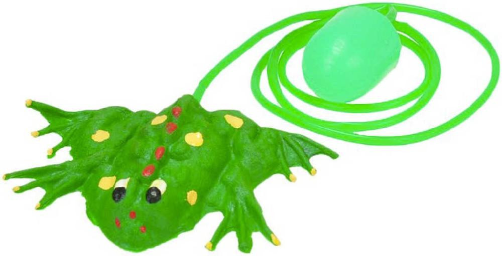 Žába gumová 11 cm skákající s balonkem na stlačený vzduch