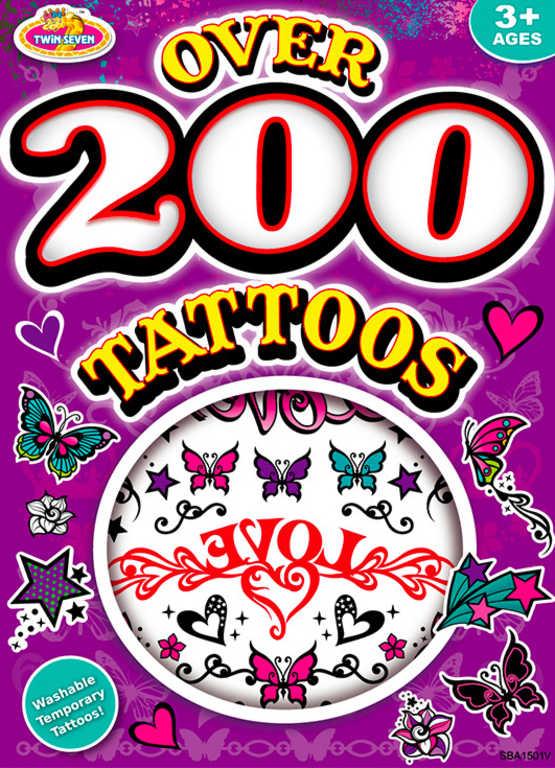 Kniha tetování dětské tetovačky velká sada 200ks+