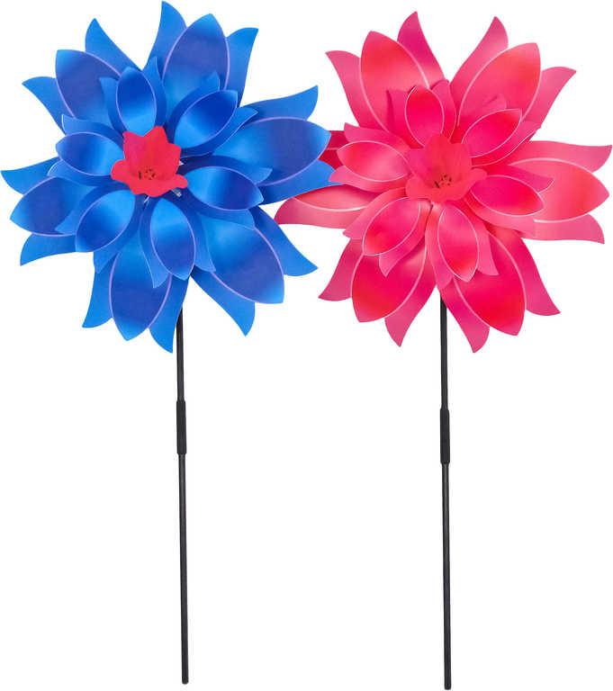 Větrník na tyčce 37cm květina 3 barvy plast