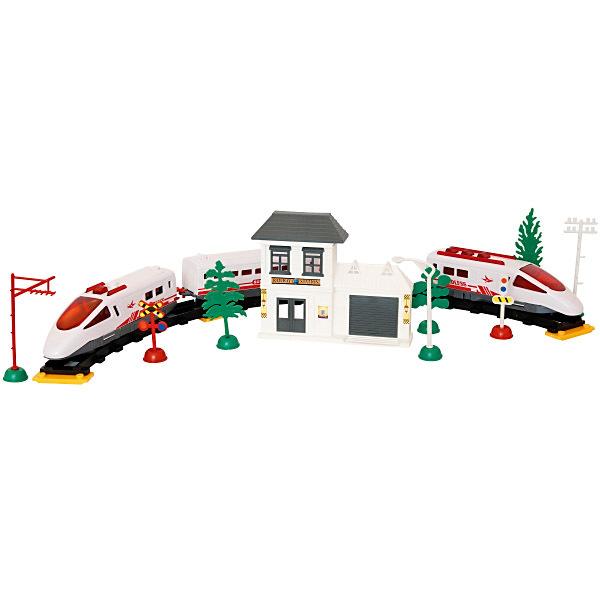 Vlak Express Jet set 38 částí s nádražím a příslušenstvím Světlo 3 druhy