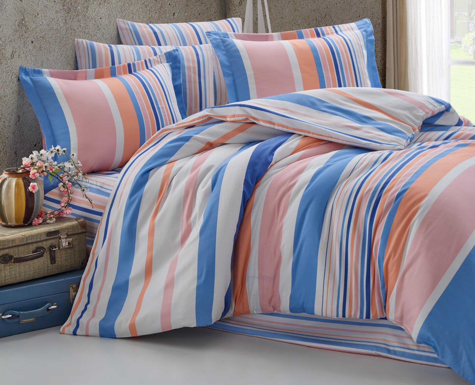 Povlečení francouzské bavlna 200x200,70x90 Mart blue-pink, Výběr zapínání: zipový uzávěr