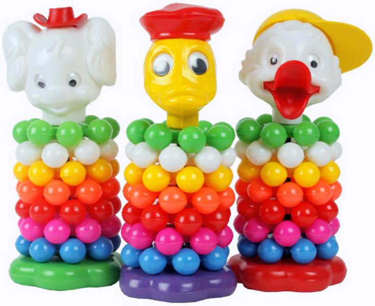 PL Pyramida plastová s kuličkami hlava zvířátko 4 druhy