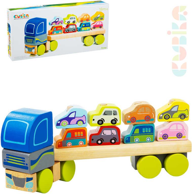 CUBIKA DŘEVO Baby autíčko Kamion s auty navlékací stavebnice set 12 dílků