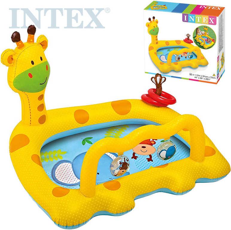 INTEX Bazének dětský nafukovací 112x91x72cm Žirafa s kroužky a chrastítky 57105