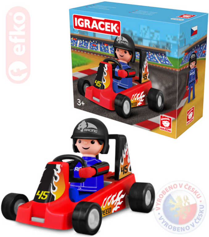 EFKO IGRÁČEK Závodník s motokárou 7,5cm červená v krabičce STAVEBNICE