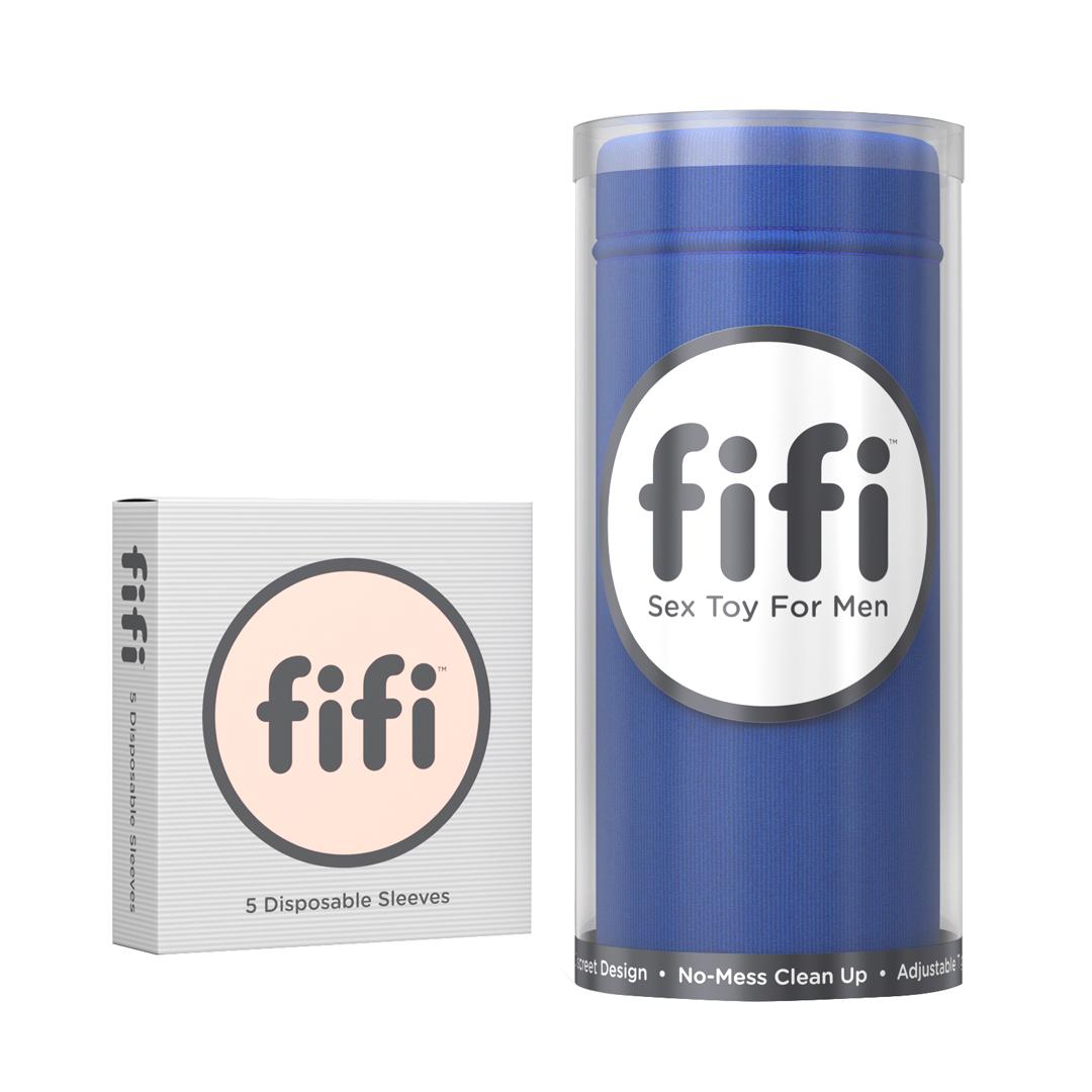 Modrý masturbátor Fifi s 5 náhradními návleky