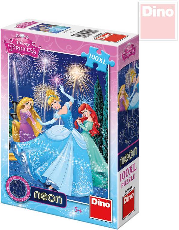 DINO Puzzle Disney Princezny neon XL 33x47cm 100 dílků svítící