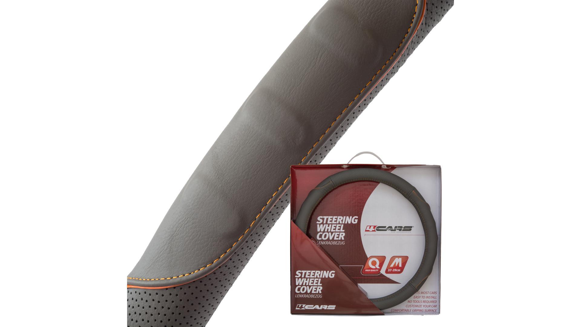 4CARS Potah volantu 37-39cm koža šedý s oranžovým obšitím