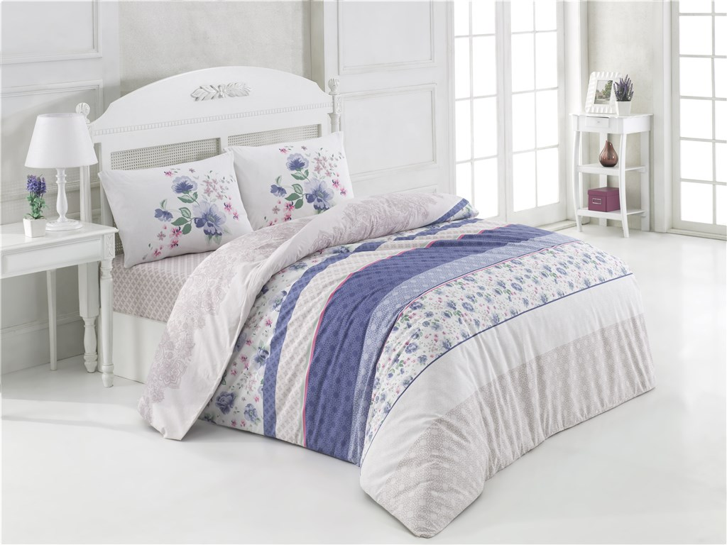 Povlečení francouzské bavlna 220x220,70x90 Debora fialová, Výběr zapínání: