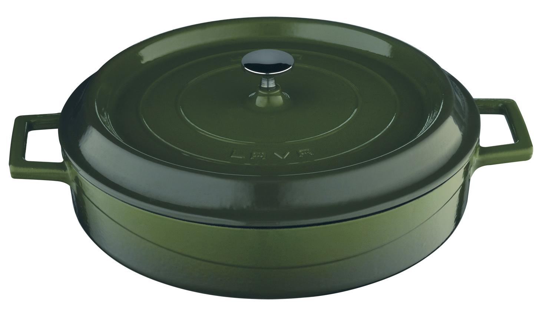 Litinový hrnec nízký kulatý 28cm - zelený