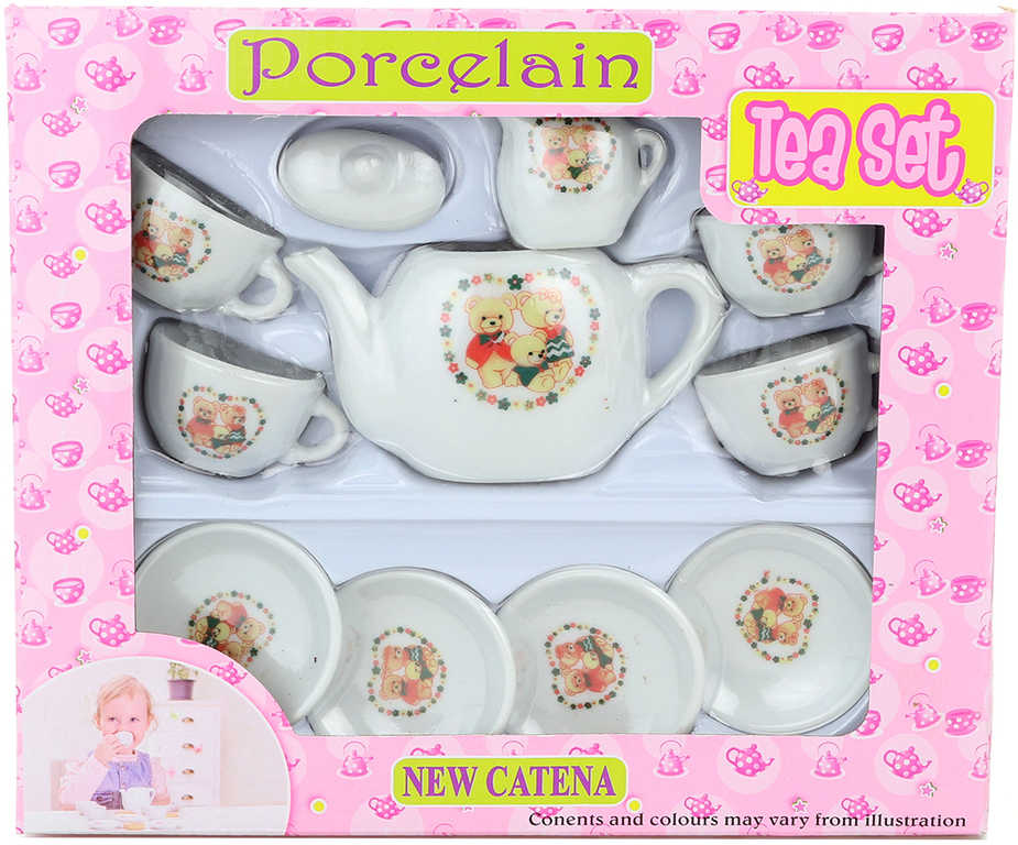 Nádobíčko s medvídky porcelán dětský čajový servis set 11ks v krabici