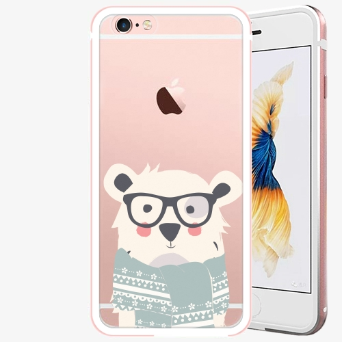 Plastový kryt iSaprio - Bear With Scarf - iPhone 6/6S - Rose Gold