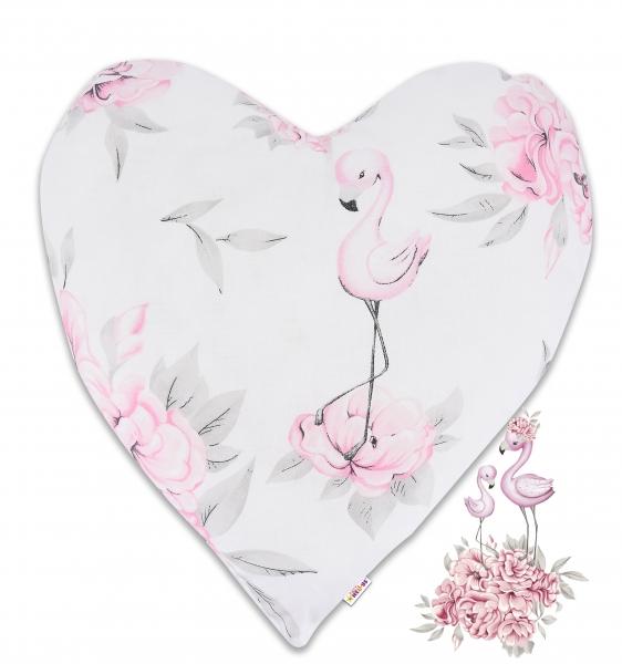 Baby Nellys Bavlněný dětský dekorační polštář, Srdíčko - Plameňák růžový