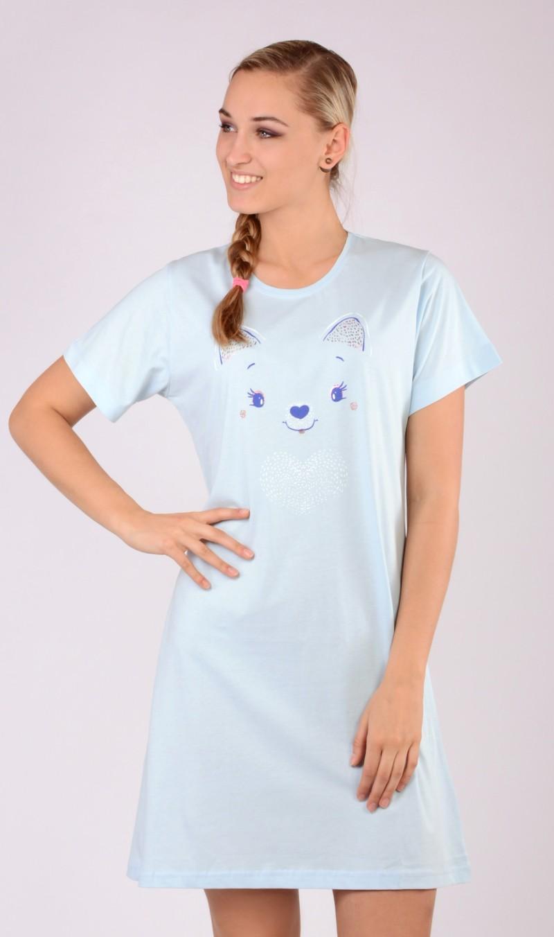 Dámská noční košile s krátkým rukávem Miláček - Růžova/XL