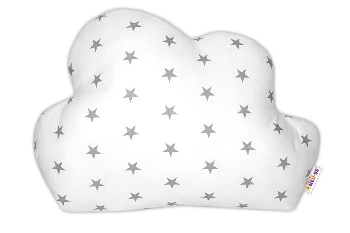 Baby Nellys Mráček - dekorační polštářek - Mini hvězdičky šedé v bílé