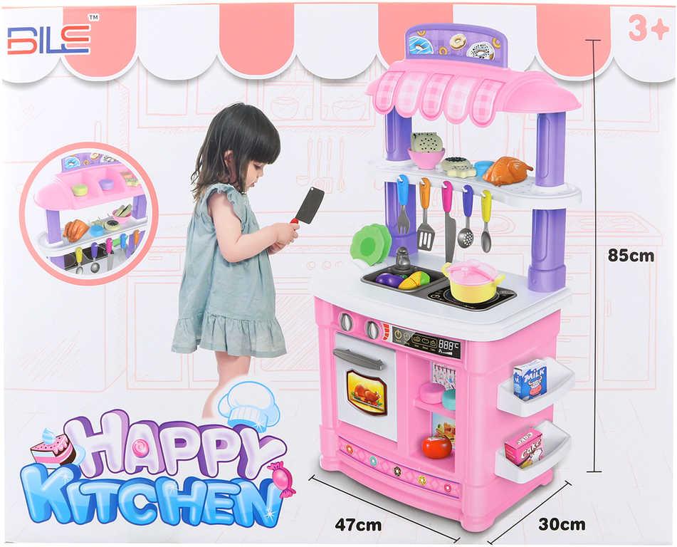 Kuchyňka dětská 85cm set s maketami potravin a nádobím na baterie Světlo Zvuk