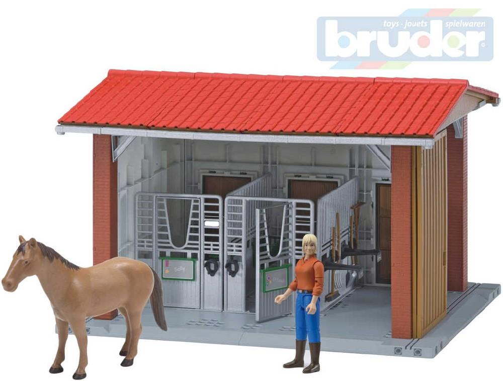 BRUDER 62520 Set stáj se dvěma boxy s figurkou a koněm 1:16 plast