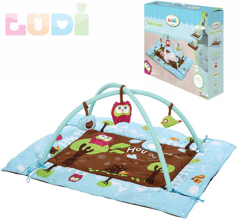 LUDI Baby hrací deka sova modrá 107×87cm s hrazdou a hračkami pro miminko