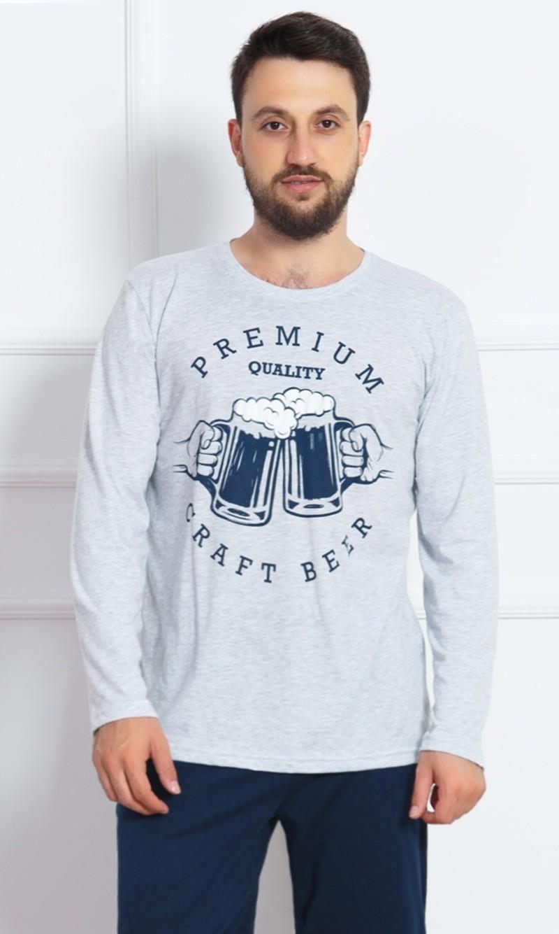 Pánské pyžamo dlouhé Beer - Šedá 2XL