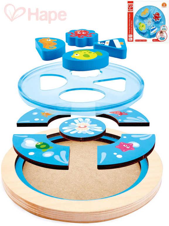 HAPE DŘEVO Baby puzzle kruhové moře skládačka v rámečku pro miminko