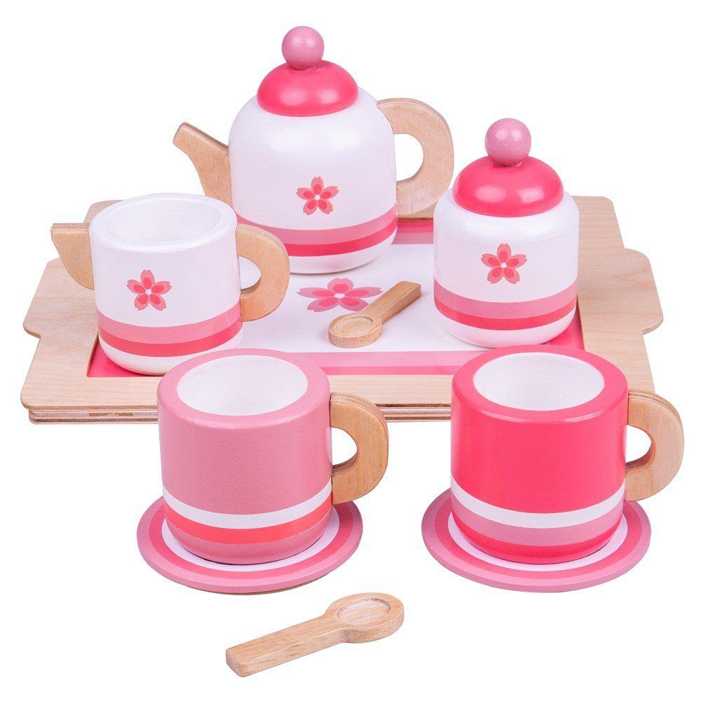 Bigjigs Toys Dřevěná čajová sada růžová - poškozený obal