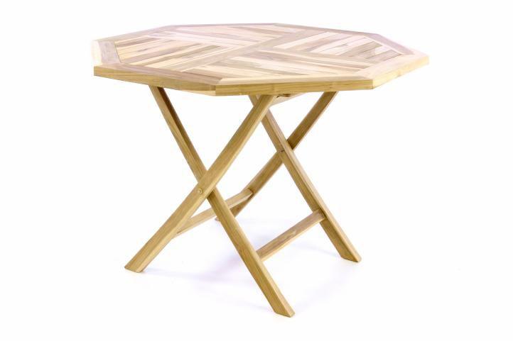 Skládací stolek DIVERO - týkové dřevo - 100 cm