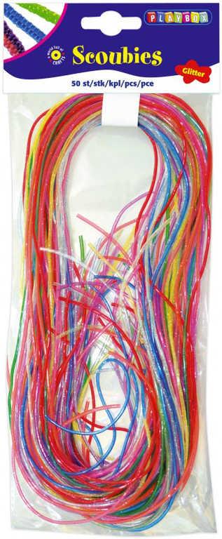 Provázky barevné zaplétací třpytivé glitter 80cm bužírky set 50ks v sáčku