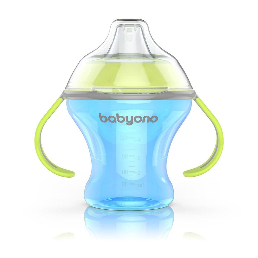 Netekoucí hrneček s měkkým náustkem Baby Ono 180 modrý - transparentní