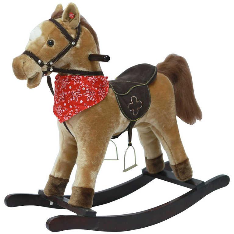 DŘEVO Kůň plyšový houpací 71cm hnědý řehtá na baterie Zvuk