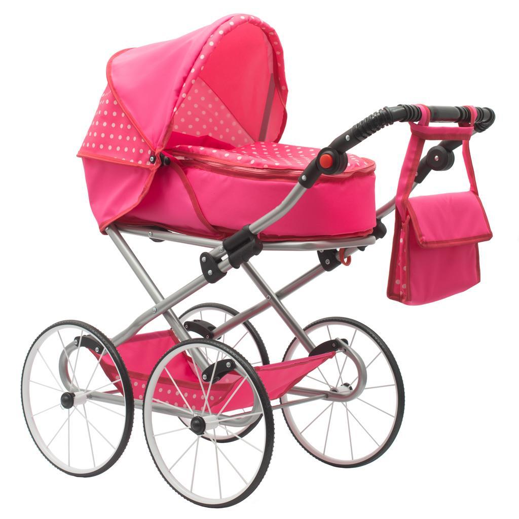 Dětský Retro kočárek pro panenky 2v1 New Baby - Anetka s puntíky - růžová