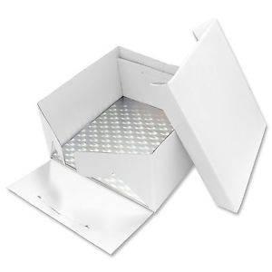 Podložka dortová stříbrná čtverec 22,8cm x 22,8cm + dortová krabice s víkem