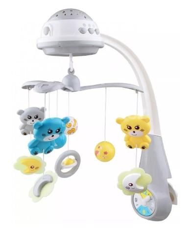 Kolotoč nad postýlku se světelným projektorem Baby Mix medvídci, šedá